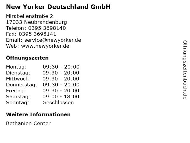 New Yorker Deutschland GmbH in Neubrandenburg: Adresse und Öffnungszeiten