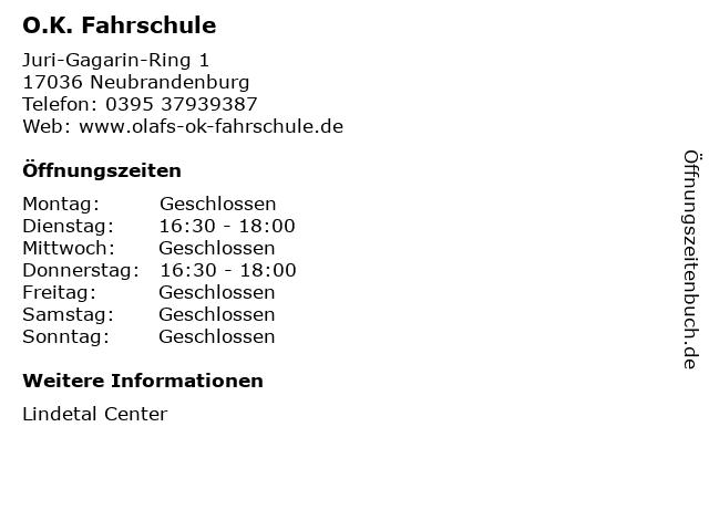O.K. Fahrschule in Neubrandenburg: Adresse und Öffnungszeiten