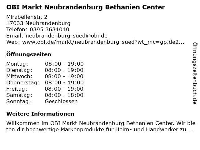 OBI Markt Neubrandenburg Süd in Neubrandenburg: Adresse und Öffnungszeiten