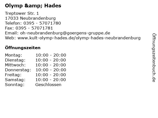 Olymp & Hades in Neubrandenburg: Adresse und Öffnungszeiten