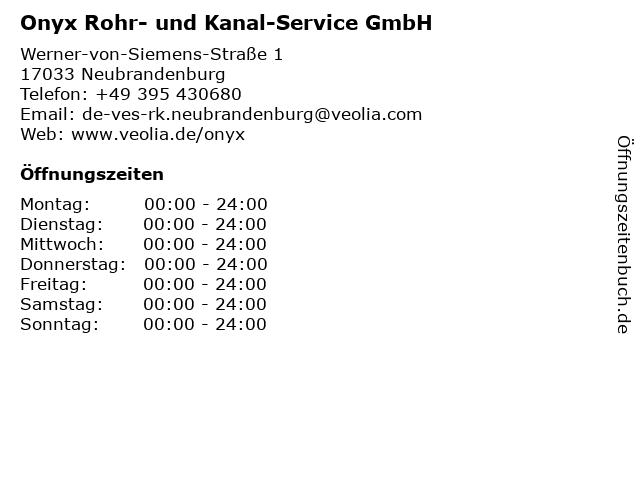 Onyx Rohr- und Kanal-Service GmbH in Neubrandenburg: Adresse und Öffnungszeiten