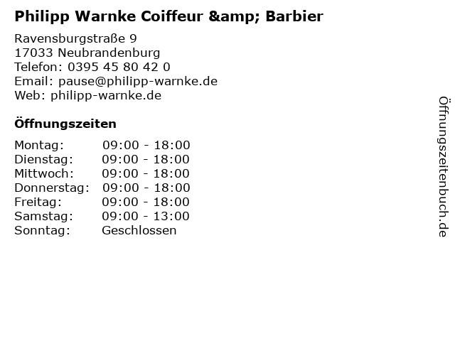 Philipp Warnke Coiffeur & Barbier in Neubrandenburg: Adresse und Öffnungszeiten