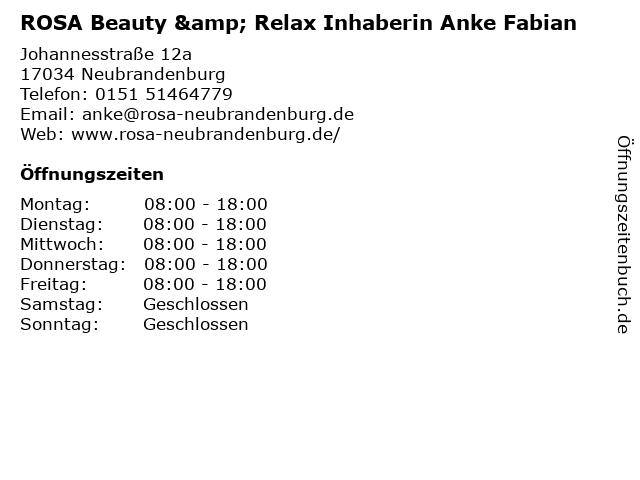ROSA Beauty & Relax Inhaberin Anke Fabian in Neubrandenburg: Adresse und Öffnungszeiten