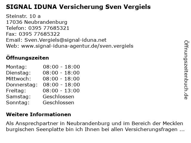 SIGNAL IDUNA Sven Vergiels in Neubrandenburg: Adresse und Öffnungszeiten