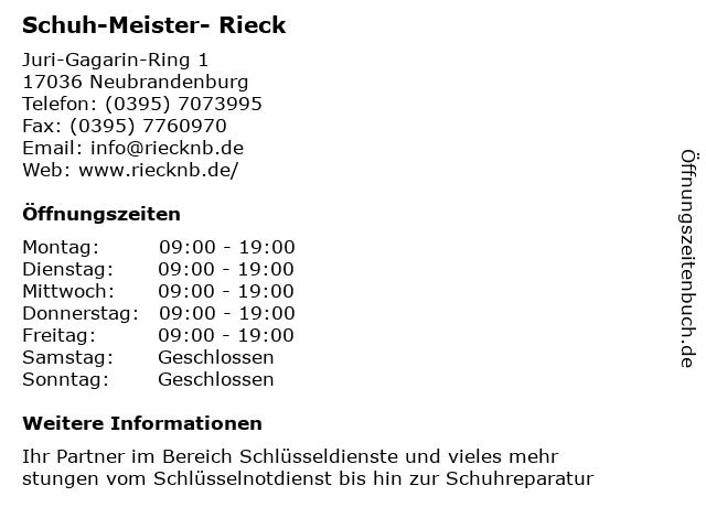 Schuh-Meister- Rieck in Neubrandenburg: Adresse und Öffnungszeiten