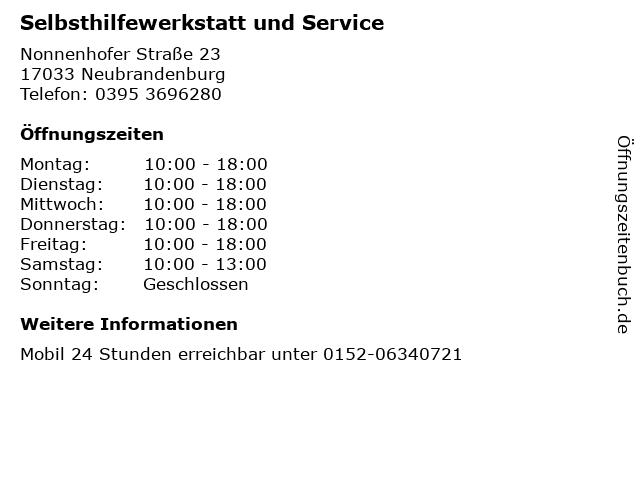 Selbsthilfewerkstatt und Service in Neubrandenburg: Adresse und Öffnungszeiten