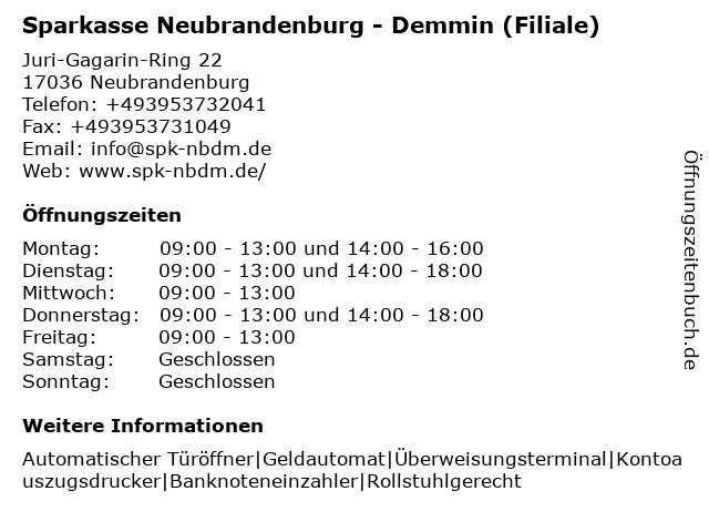 Sparkasse Neubrandenburg - Demmin - Filiale Oststadt in Neubrandenburg: Adresse und Öffnungszeiten