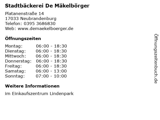 Stadtbäckerei De Mäkelbörger in Neubrandenburg: Adresse und Öffnungszeiten