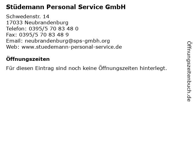 Stüdemann Personal Service GmbH in Neubrandenburg: Adresse und Öffnungszeiten
