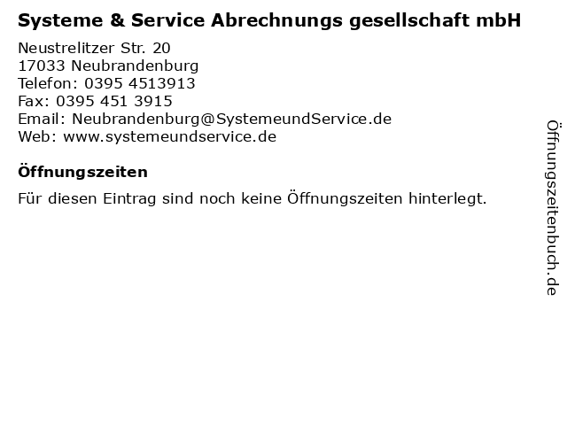 Systeme & Service Abrechnungs gesellschaft mbH in Neubrandenburg: Adresse und Öffnungszeiten