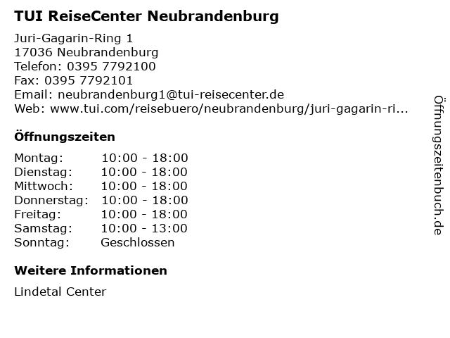TUI ReiseCenter Neubrandenburg in Neubrandenburg: Adresse und Öffnungszeiten