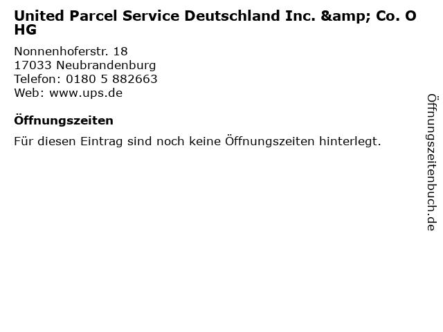 United Parcel Service Deutschland Inc. & Co. OHG in Neubrandenburg: Adresse und Öffnungszeiten
