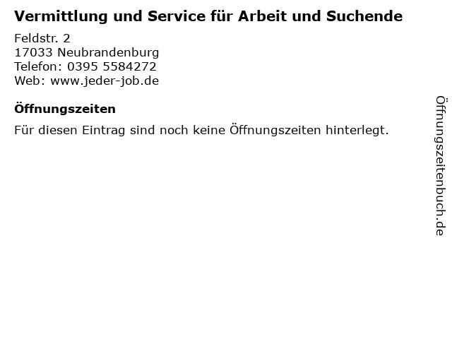 Vermittlung und Service für Arbeit und Suchende in Neubrandenburg: Adresse und Öffnungszeiten