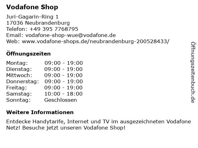 Vodafone Shop in Neubrandenburg: Adresse und Öffnungszeiten