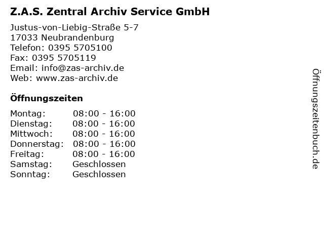 Z.A.S. Zentral Archiv Service GmbH in Neubrandenburg: Adresse und Öffnungszeiten