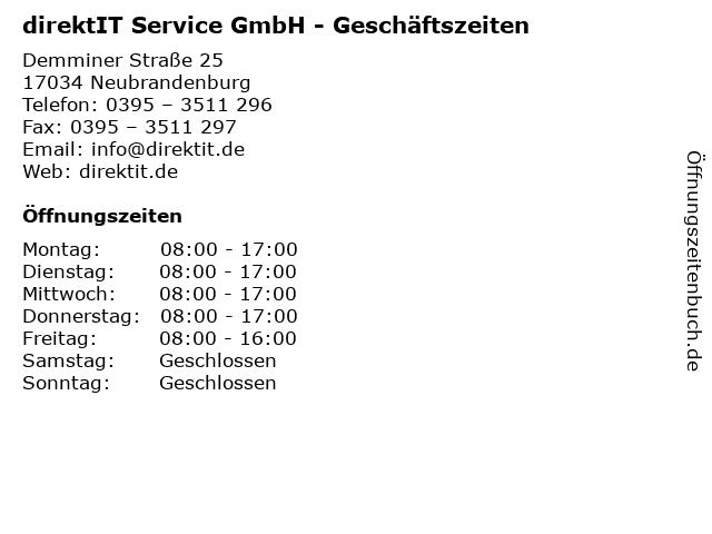 direktIT Service GmbH - Geschäftszeiten in Neubrandenburg: Adresse und Öffnungszeiten