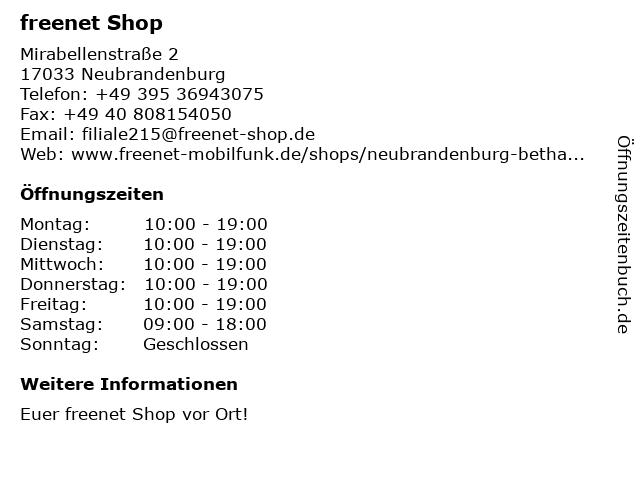 mobilcom-debitel in Neubrandenburg: Adresse und Öffnungszeiten