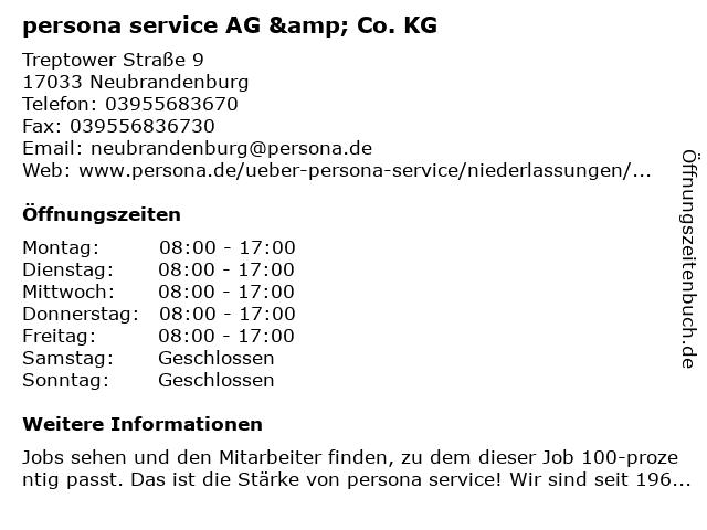 persona service AG & Co. KG in Neubrandenburg: Adresse und Öffnungszeiten