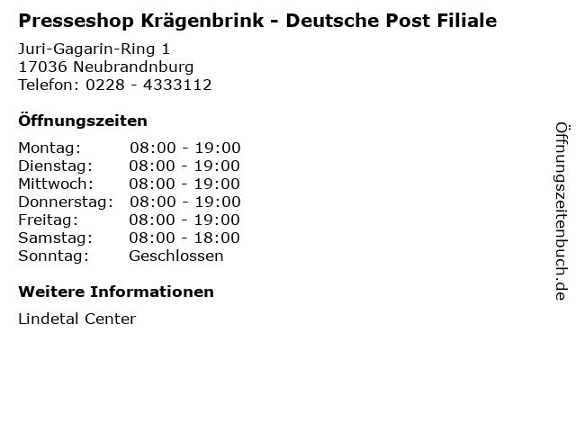 Presseshop Krägenbrink - Deutsche Post Filiale in Neubrandnburg: Adresse und Öffnungszeiten