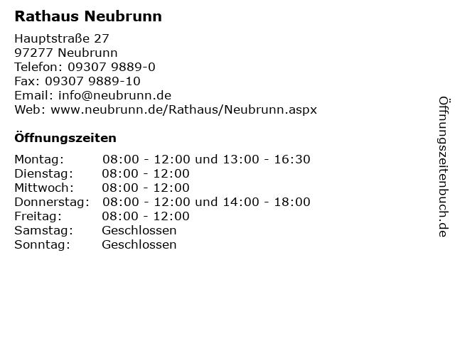 Rathaus Neubrunn in Neubrunn: Adresse und Öffnungszeiten