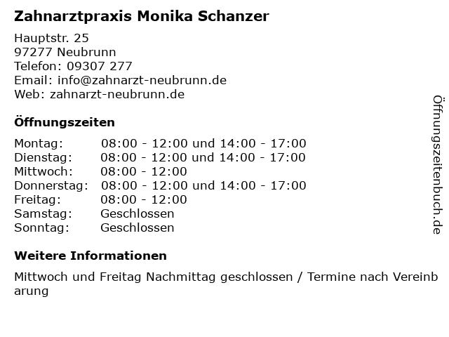 Zahnarztpraxis Monika Schanzer in Neubrunn: Adresse und Öffnungszeiten