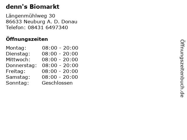 denn's Biomarkt in Neuburg A. D. Donau: Adresse und Öffnungszeiten