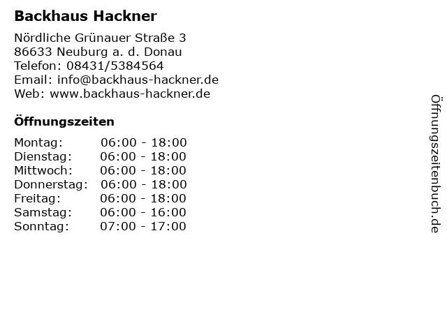 Backhaus Hackner in Neuburg a. d. Donau: Adresse und Öffnungszeiten
