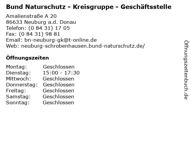 Bund Naturschutz - Kreisgruppe - Geschäftsstelle in Neuburg a.d. Donau: Adresse und Öffnungszeiten