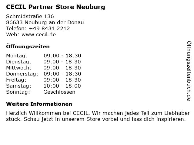 """Räumungspreise Genieße den reduzierten Preis reduzierter Preis ᐅ Öffnungszeiten """"CECIL Partner Store Neuburg ..."""