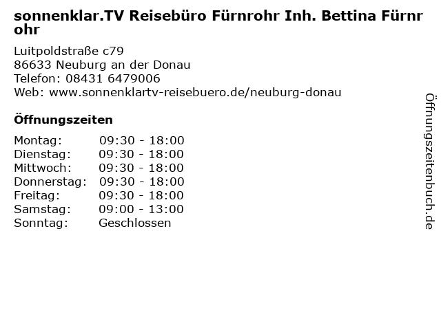 Sonnenklar Reisebüro in Neuburg: Adresse und Öffnungszeiten