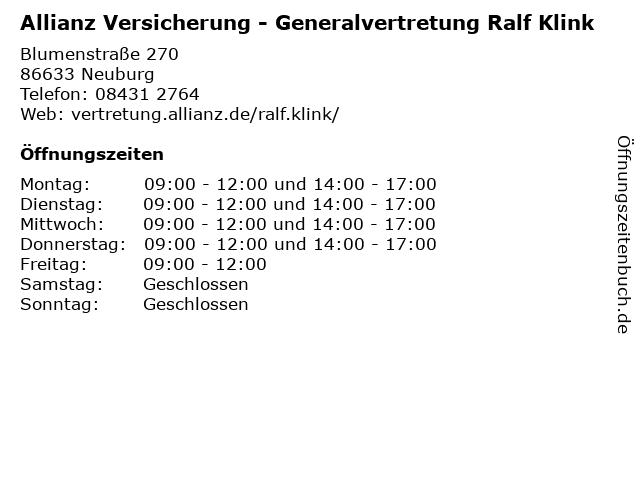 Allianz Versicherung - Generalvertretung Ralf Klink in Neuburg: Adresse und Öffnungszeiten