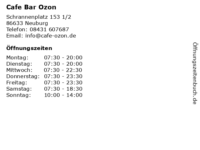 Cafe Bar Ozon in Neuburg: Adresse und Öffnungszeiten
