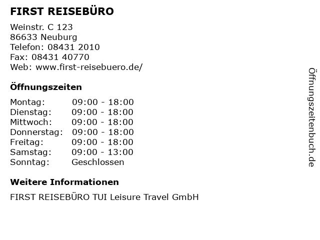 FIRST REISEBÜRO in Neuburg: Adresse und Öffnungszeiten