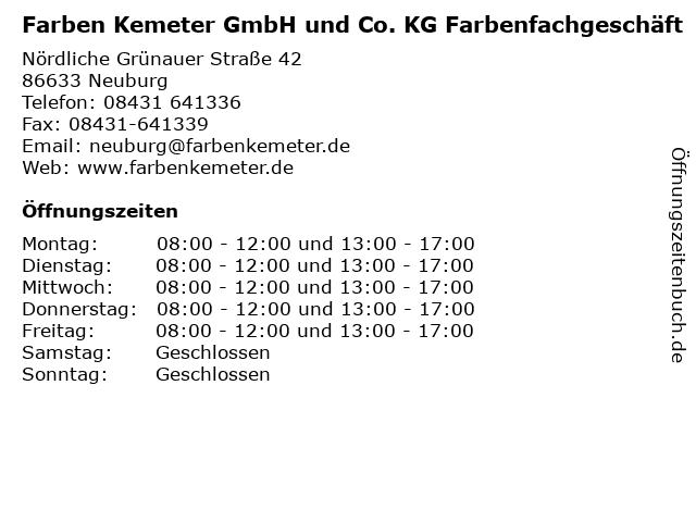 Farben Kemeter.ᐅ öffnungszeiten Farben Kemeter Gmbh Und Co Kg
