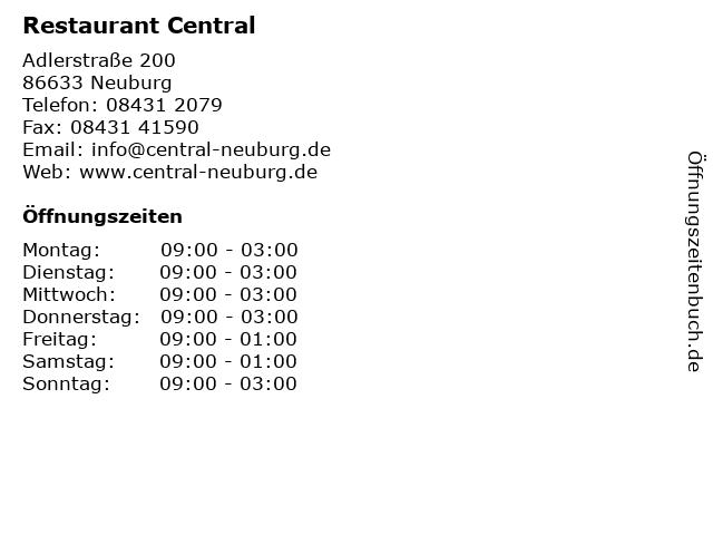 Restaurant Central in Neuburg: Adresse und Öffnungszeiten