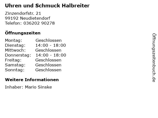 Uhren und Schmuck Halbreiter in Neudietendorf: Adresse und Öffnungszeiten