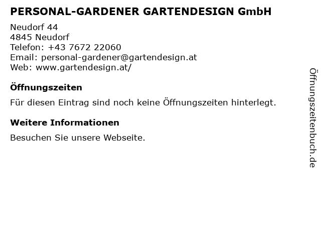 PERSONAL-GARDENER GARTENDESIGN GmbH in Neudorf: Adresse und Öffnungszeiten