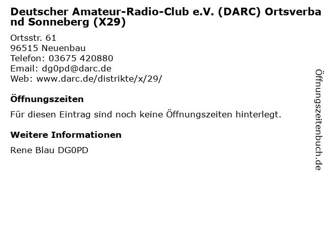 Deutscher Amateur-Radio-Club e.V. (DARC) Ortsverband Sonneberg (X29) in Neuenbau: Adresse und Öffnungszeiten