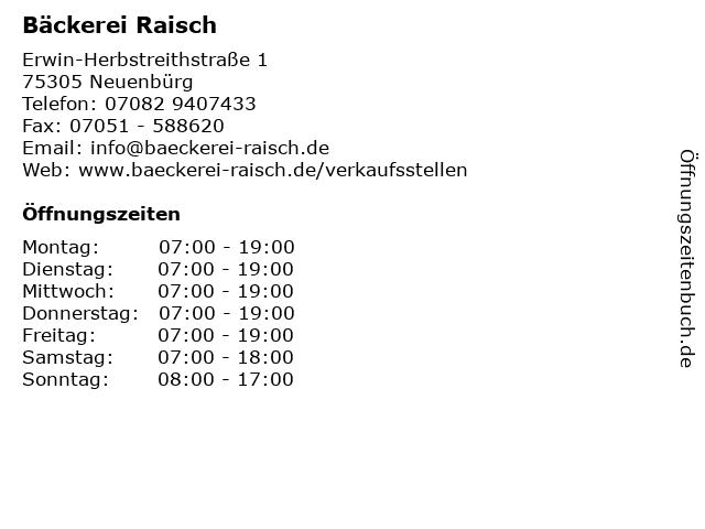 Bäckerei Raisch in Neuenbürg: Adresse und Öffnungszeiten
