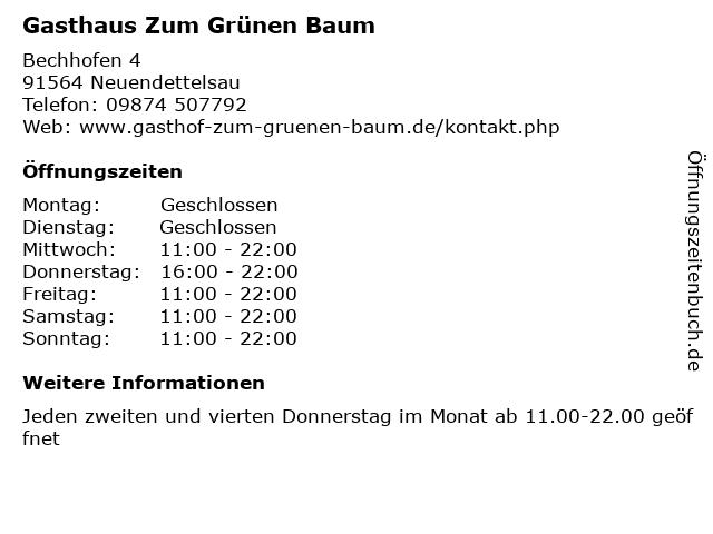 Gasthaus Zum Grünen Baum in Neuendettelsau: Adresse und Öffnungszeiten
