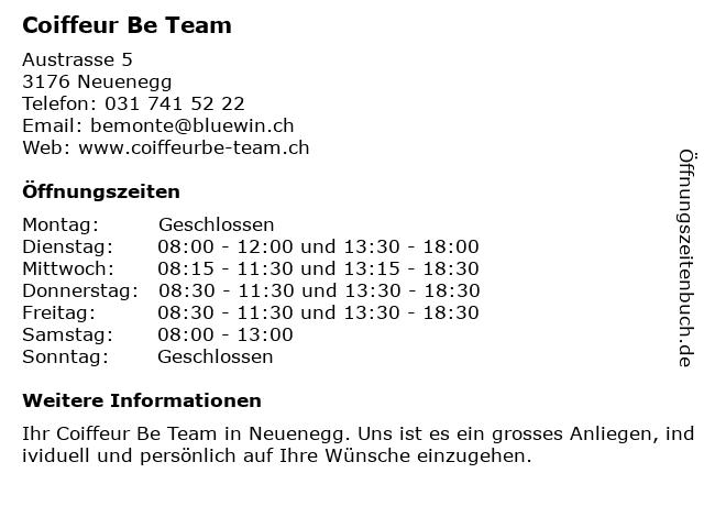 Coiffeur Be Team in Neuenegg: Adresse und Öffnungszeiten
