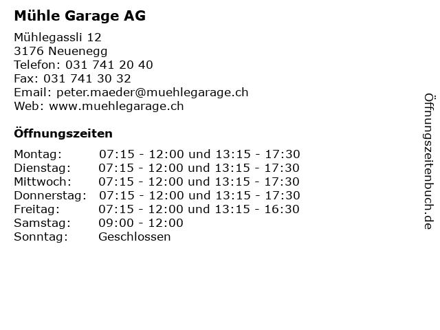 Mühle Garage AG in Neuenegg: Adresse und Öffnungszeiten