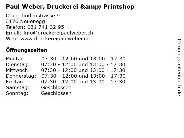 Paul Weber, Druckerei & Printshop in Neuenegg: Adresse und Öffnungszeiten