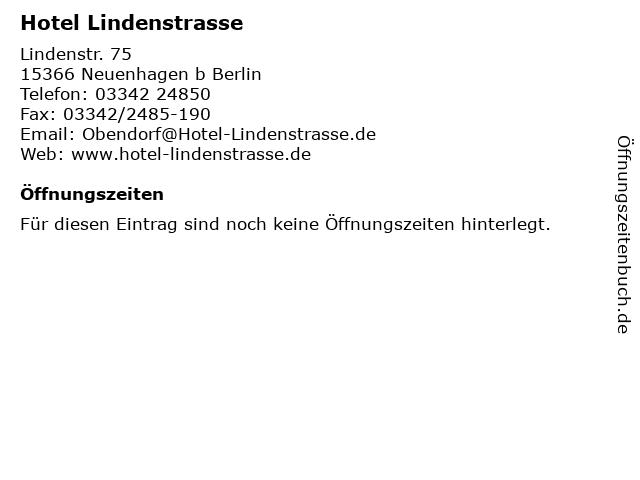 Hotel Lindenstrasse in Neuenhagen b Berlin: Adresse und Öffnungszeiten