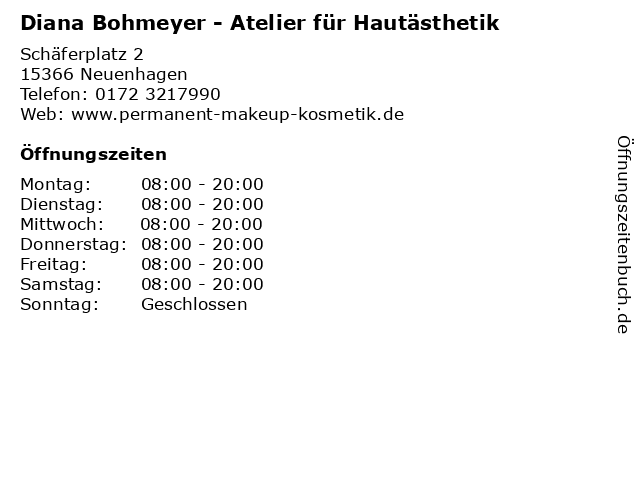 Diana Bohmeyer - Atelier für Hautästhetik in Neuenhagen: Adresse und Öffnungszeiten