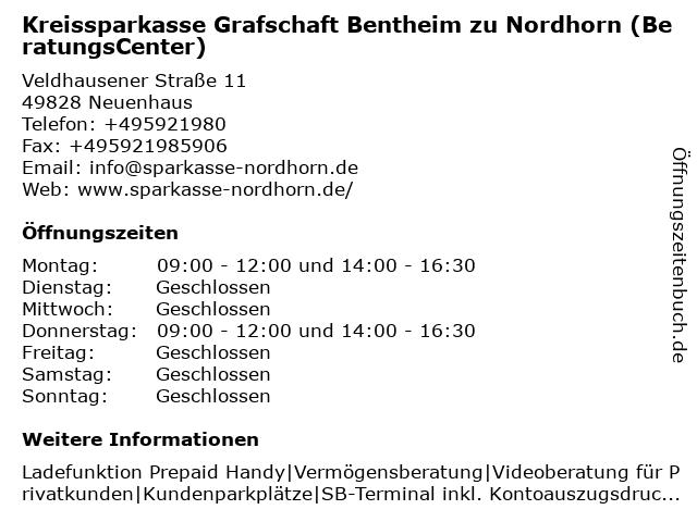 Kreissparkasse Grafschaft Bentheim zu Nordhorn in Neuenhaus: Adresse und Öffnungszeiten
