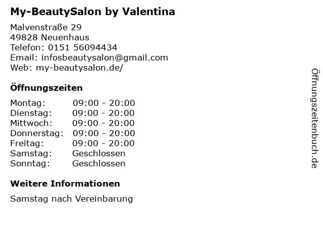 My-BeautySalon by Valentina in Neuenhaus: Adresse und Öffnungszeiten