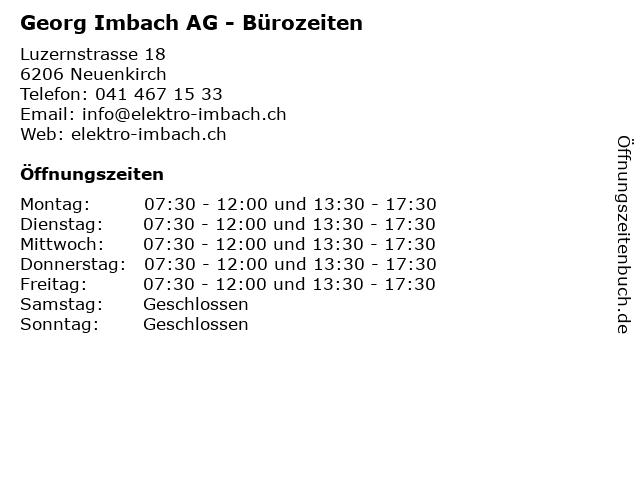 Georg Imbach AG - Bürozeiten in Neuenkirch: Adresse und Öffnungszeiten