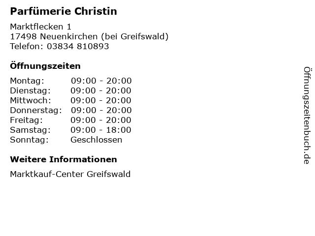 Parfümerie Christin in Neuenkirchen (bei Greifswald): Adresse und Öffnungszeiten