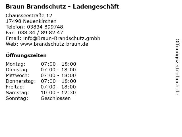 Braun Brandschutz - Ladengeschäft in Neuenkirchen: Adresse und Öffnungszeiten